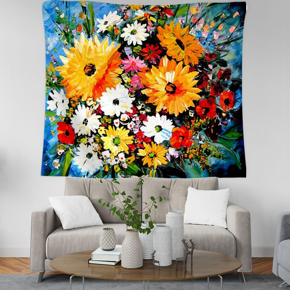 PLstar Cosmos Bohemian sunflower oil painting Tapestry 3D Printing Tapestrying Rectangular Home Decor Wall Hanging style-16