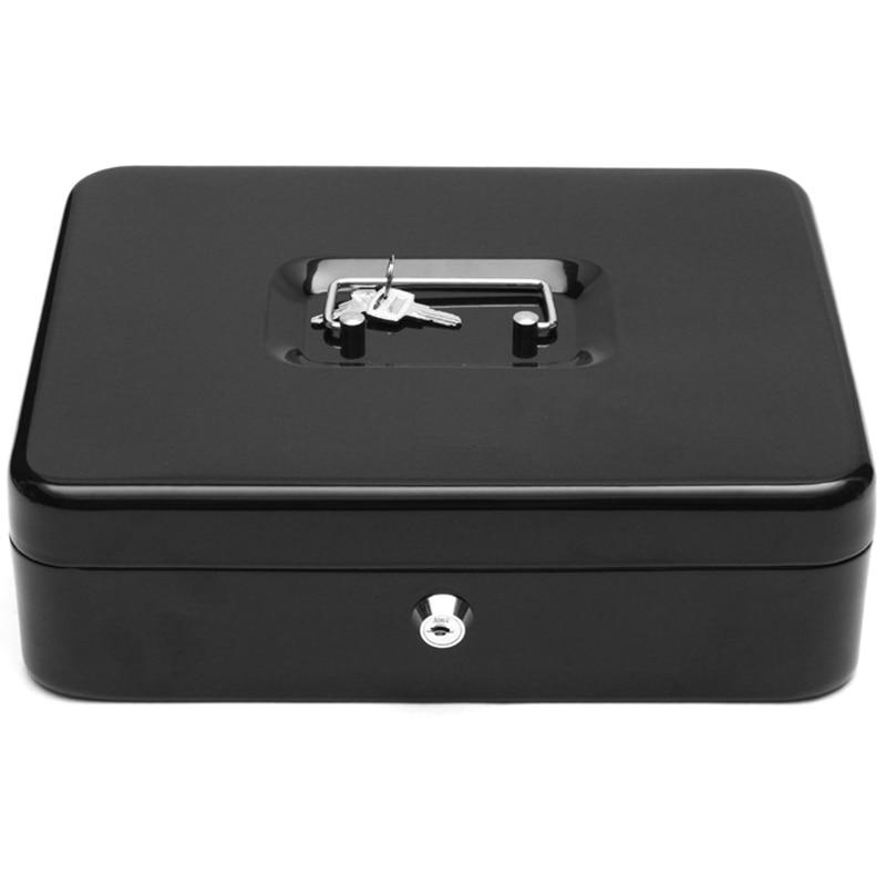 Cajón de caja de dinero de hierro negro LUDA con cerradura de seguridad bandeja con capas de almacenamiento para la oficina en casa herramienta contenedora