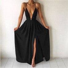 Женское шифоновое длинное платье на бретельках с открытой спиной, ТРАПЕЦИЕВИДНОЕ богемное вечернее платье без рукавов с v-образным вырезом,...