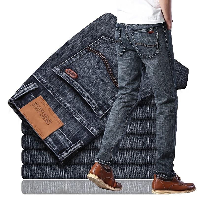 Sulee-بنطلون جينز مطاطي للرجال ، قطن ، ملابس عصرية ، ملابس وغسول ، علامة تجارية ، خريف
