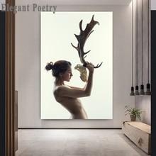 Обнаженная женщина и Олень Маска с костью абстрактная настенная художественная картина холст плакат скандинавские стены Художественная печать живопись украшение гостиной