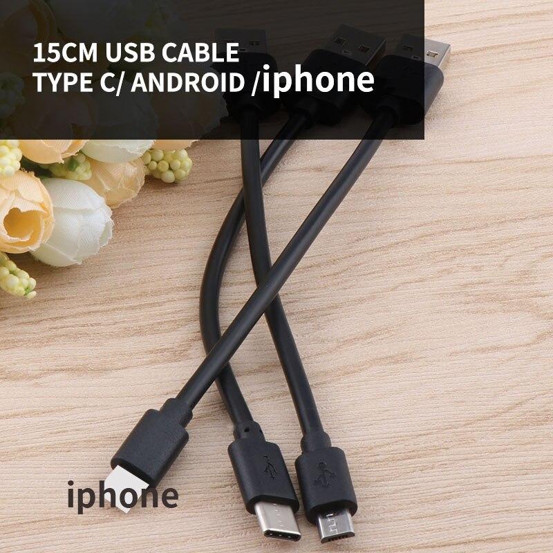 15cm USB-C curto tipo de cabo c micro usb/tipo c power bank cabo cabo de dados de carregamento rápido para iphone samsung xiaomi huawei