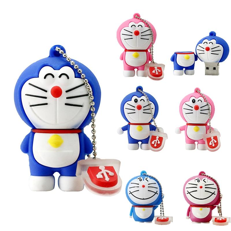 De dibujos animados Pendrive 256GB USB Doraemon Pen drive 1 GB 2GB 4GB 8GB 16GB 32GB 64GB USB Flash unidad de disco de 6 unidades de memoria de gato Robot