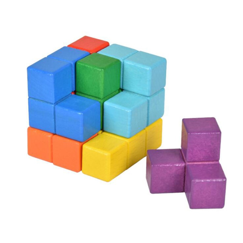 Wooden Children DIY Puzzle Toy Luban Seven Cube Composition Multiple Ways To Play Logical Thinking Brain Teaser Assembly Game