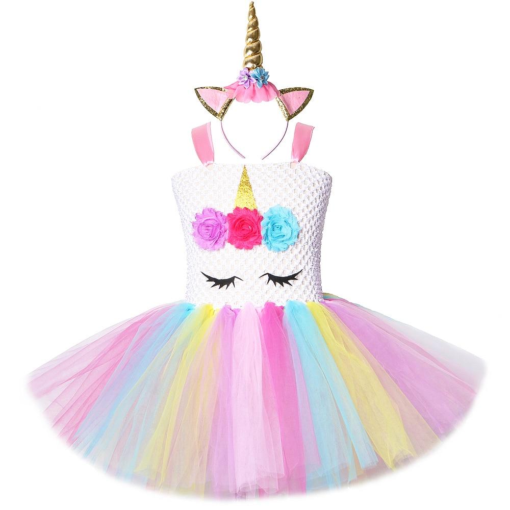 Arco Iris unicornio princesa vestidos niñas vestido de flores tutú niños Carvinal fiesta traje niños Cosplay Halloween traje