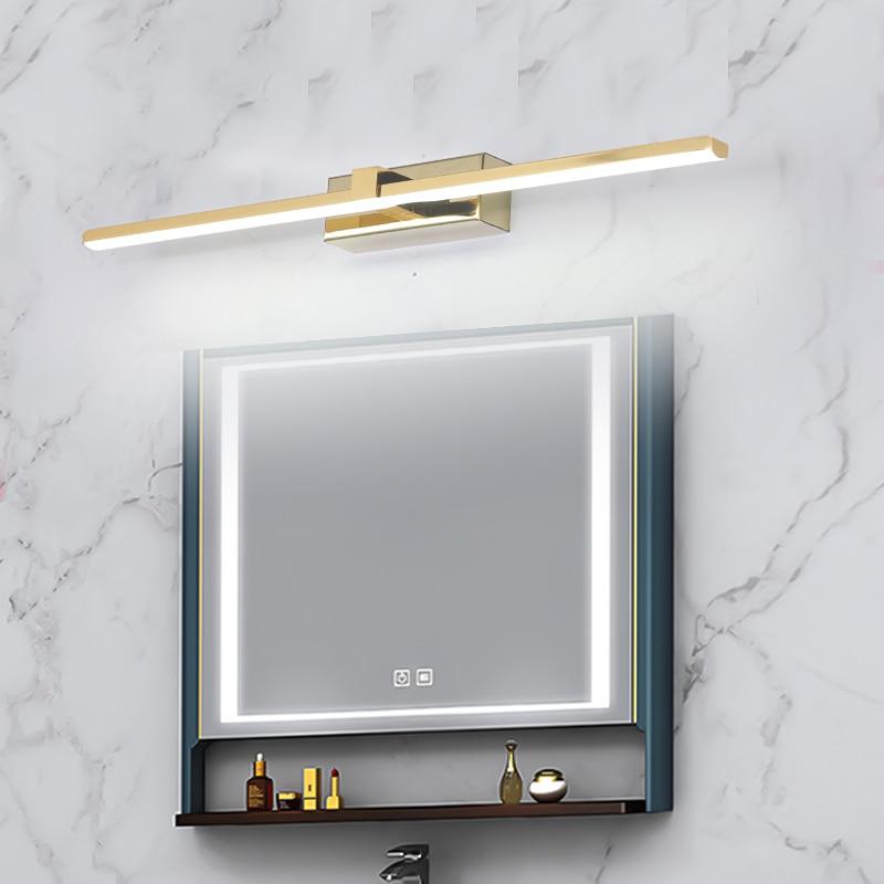 تركيبات حائط للحمام من الكروم والذهبي ، مصباح حائط LED حديث للحمام ، أبيض دافئ/أبيض ، 0.4-1 متر ، مصباح مكياج فوق المرآة