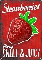 Signe retro fraises Fruits legumes nourriture drole  decor mural dete doux  decor de maison  nouveaute  signe en metal en etain