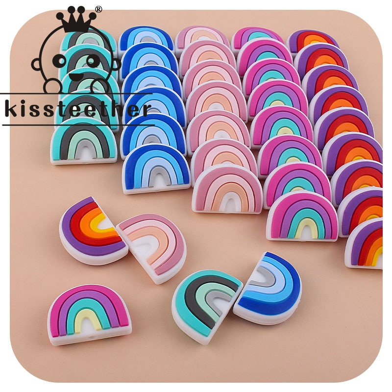 AliExpress - Kissteether 5pcs Rainbow Silicone Baby Teething Beads Nursing Teether Toys For New Born Silicone Beads Pacifier Dummy Chains DIY