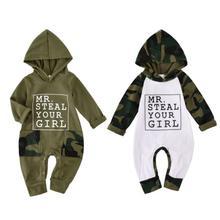 Otoño invierno Bebé niños Romper verde militar/Blanco estampado Floral manga larga con capucha mono niños ropa