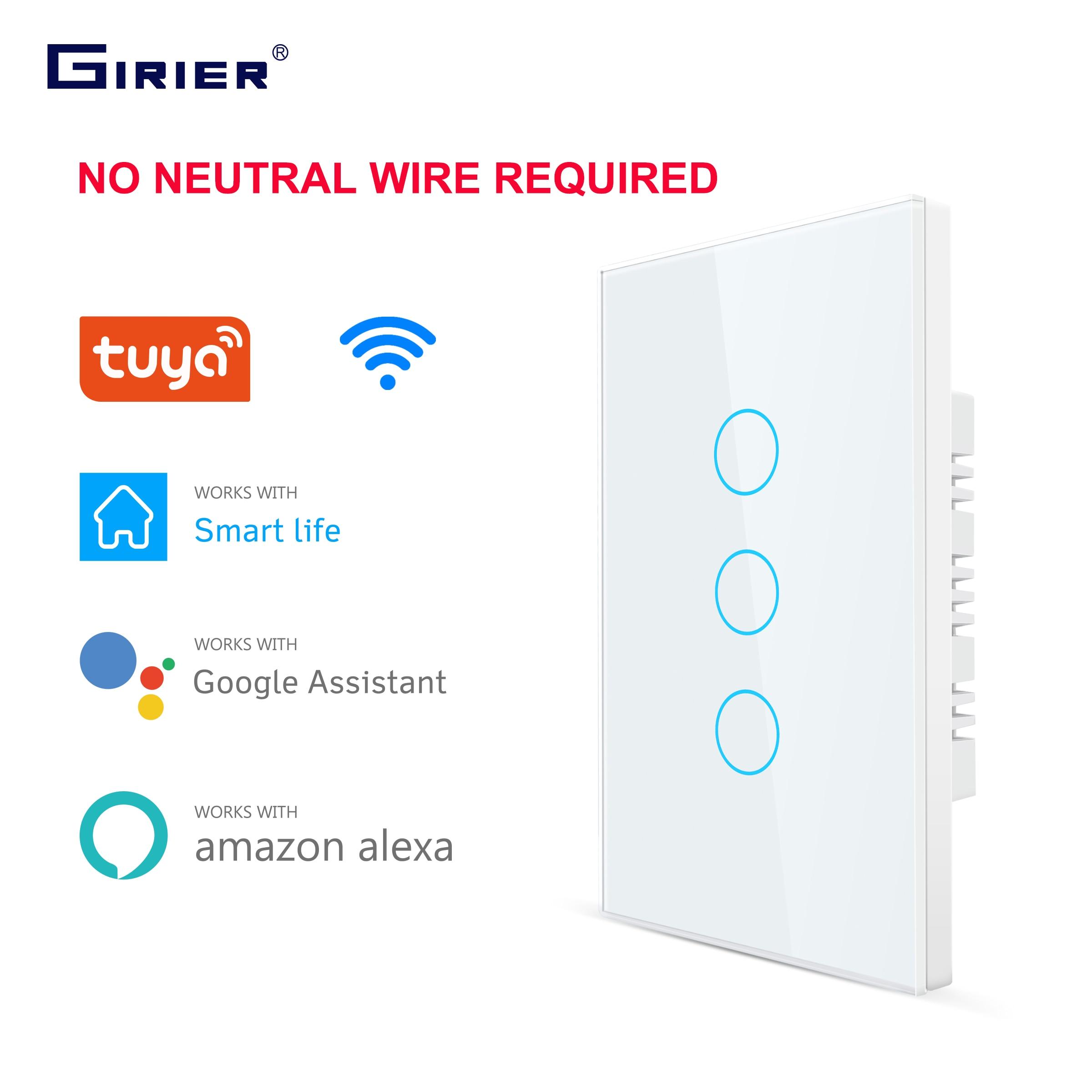 Smart Wifi Touch Schalter Keine Neutralen Draht Erforderlich Smart Home 1/2/3 Gang Licht Schalter 220V Unterstützung Alexa Tuya App 433RF Remote