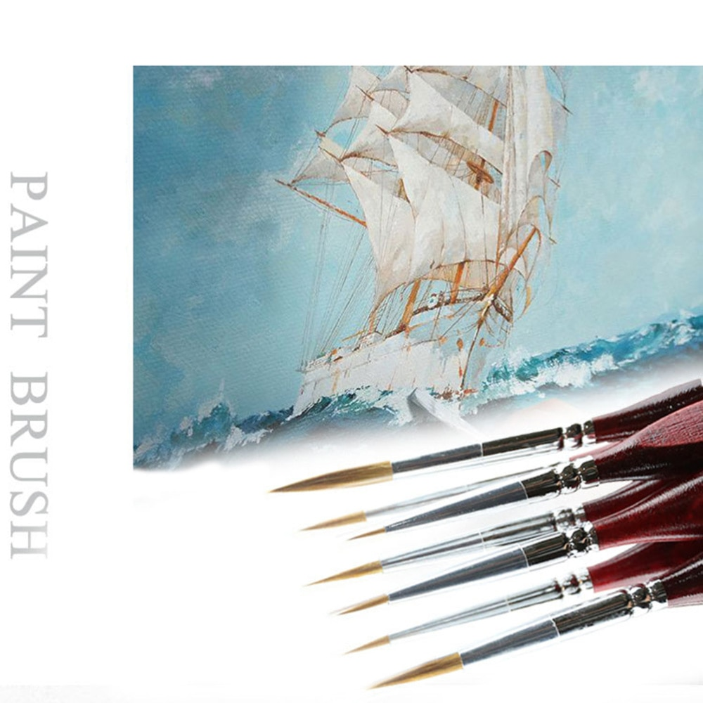 9PCS Hook Line Pen Gouache Oil Painting Watercolor Hand-painted Hook Line Pen Stroked Tip Artistic Special Paint Brushes enlarge