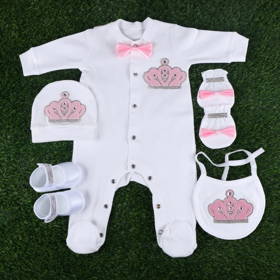 new fashion newborn lovely baby footies clothes sets gift for boy girl 0-3 months pearl beads crown bowtie design rompers