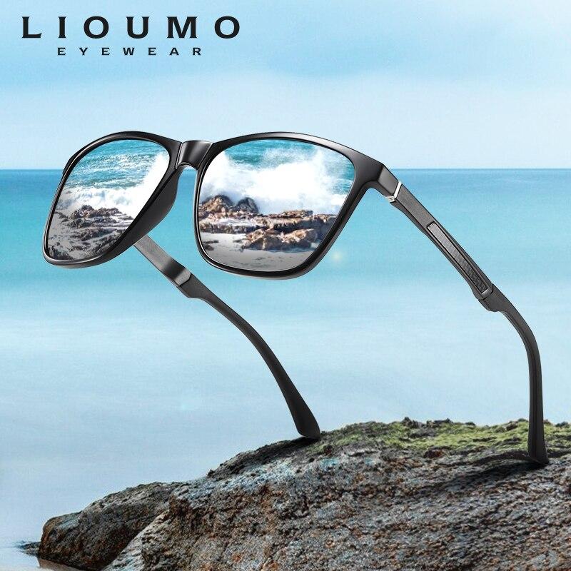 LIOUMO 2020 gafas de sol cuadradas a la moda, gafas polarizadas para hombres y mujeres para conducción al aire libre, lentes de espejo con recubrimiento UV400, zonnebril heren