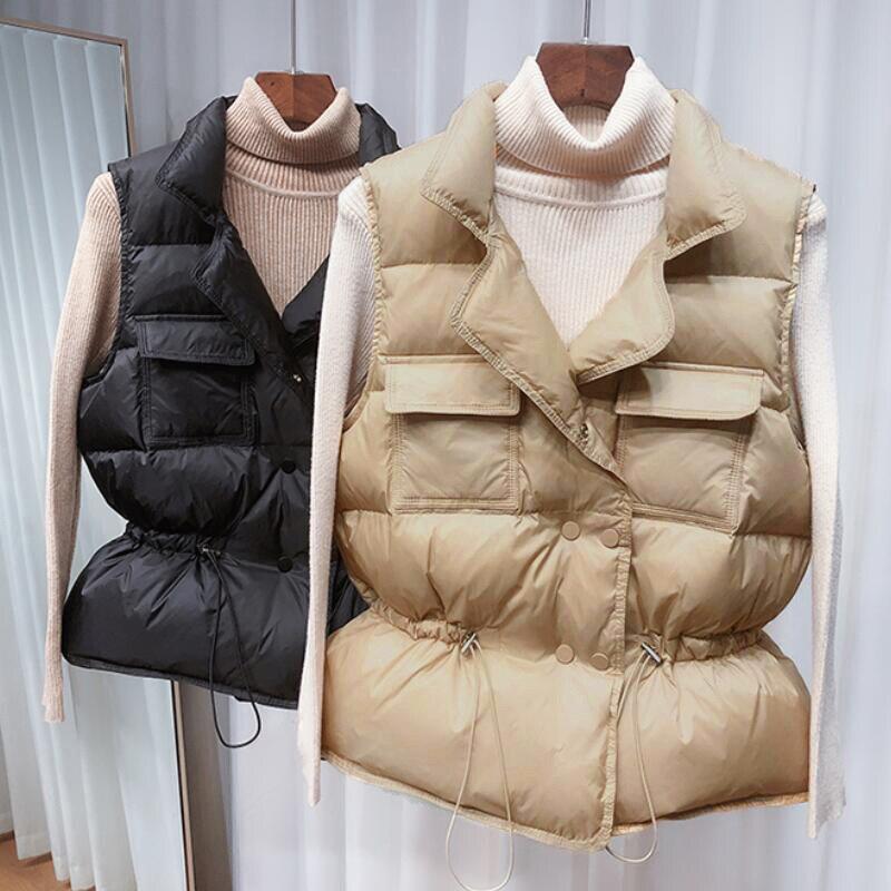 Winter Down Vest Women Short Sleeveless Vest Jacket Lightweight BodyWarmer Waistcoat Female White Gilets Windbreaker Down Coat