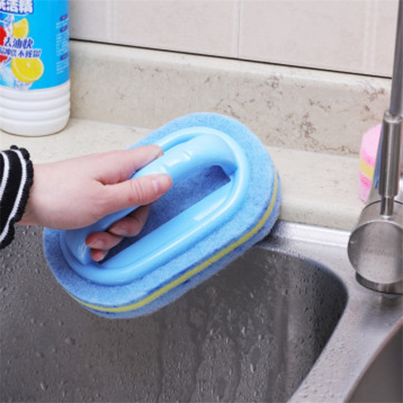 Kitchen Cleaning Bathroom Toilet Kitchen Glass Wall Cleaning Bath Brush Plastic Handle Sponge Bath Bottom enlarge