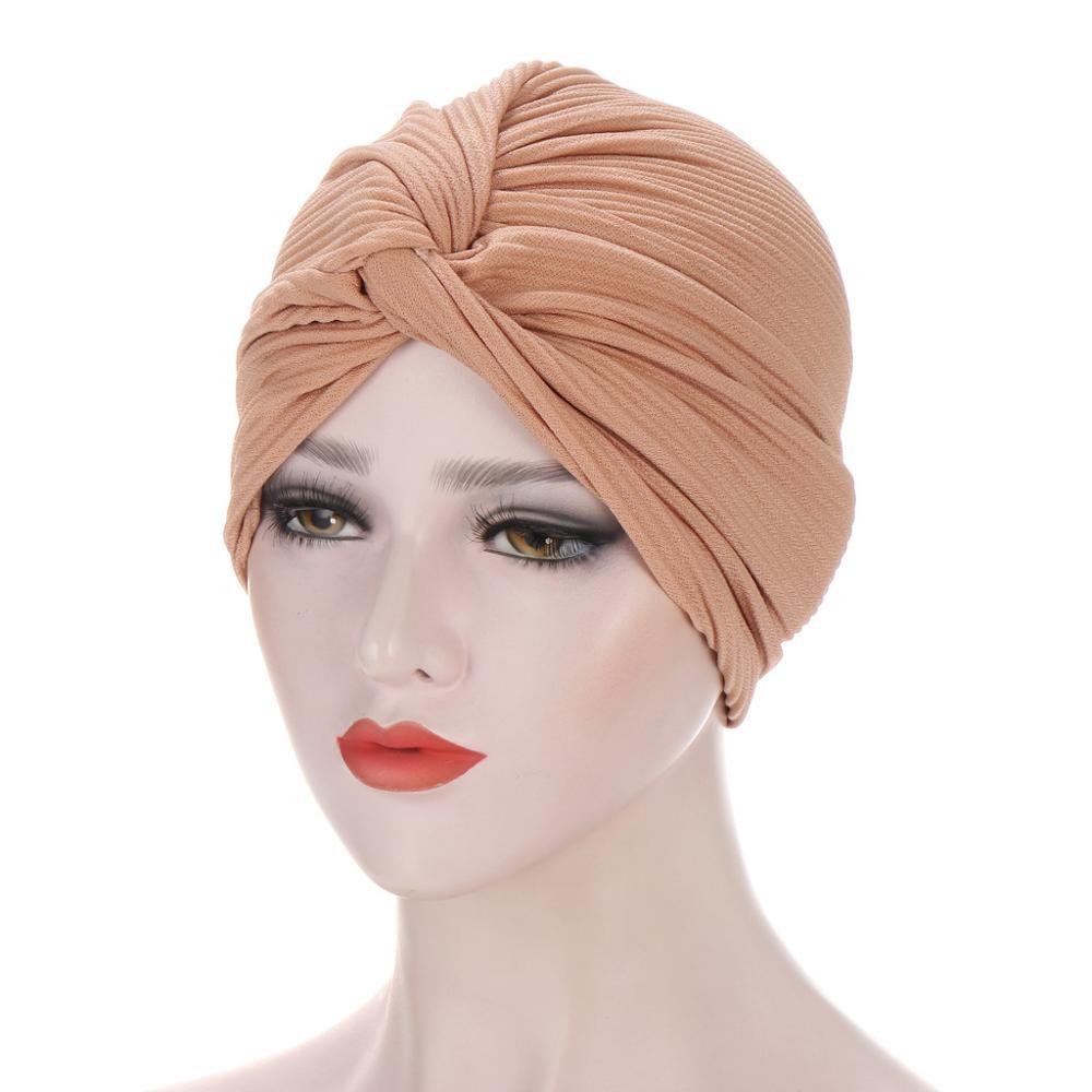 Фото - 2020 New Crinkle Twist Turban Caps For Women Muslim Hijab Bonnet Ladies Headband Turbans Indian Chemo Cap Winter Beanie Hat new cotton twist women turban caps muslim printed hijab bonnet islamic african wrap indian hat ladies chemo cap bandanas