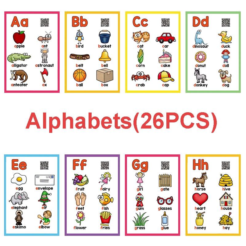 26 cartas de alfabeto inglés, tarjetas Flash ABC, tarjetas de bolsillo de palabras para niños, juguetes educativos de aprendizaje Montessori para niños