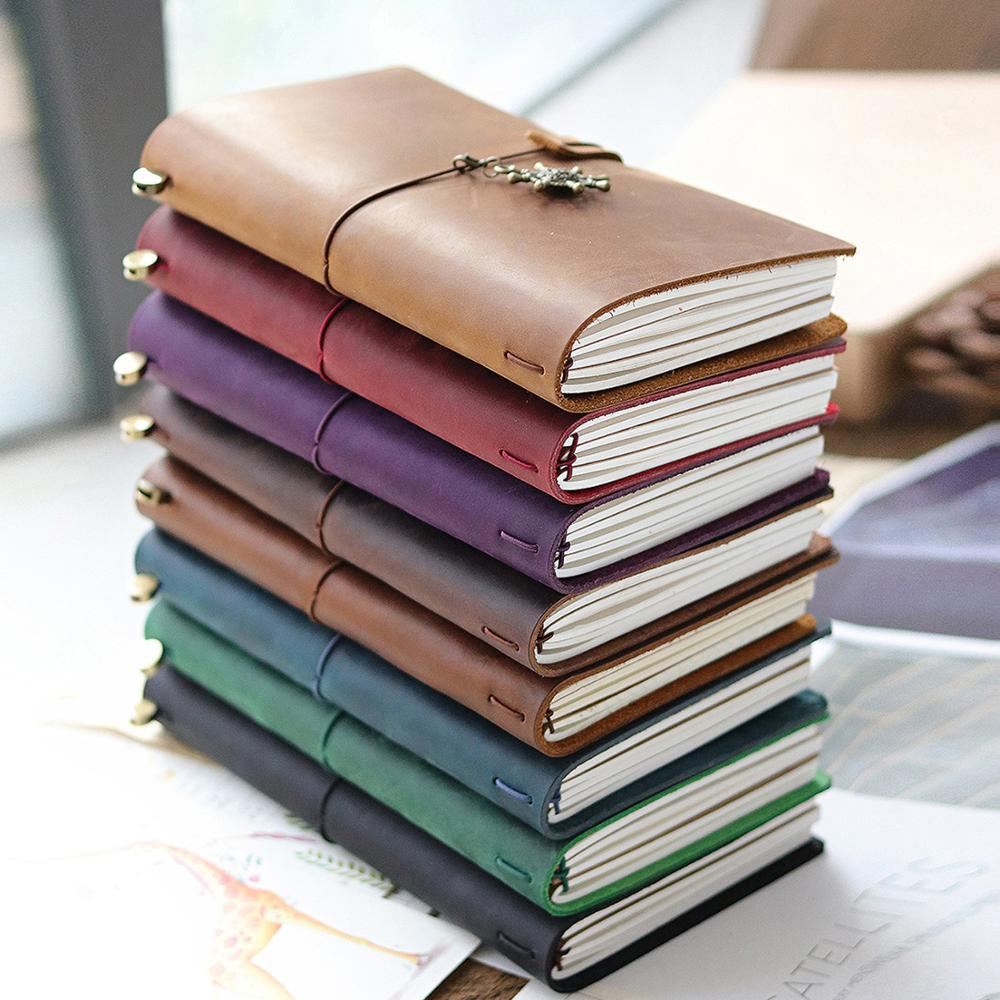 Leather Travel Notebook Retro DIY Handmade Diary Loose-leaf Notebooks Portable Sketchbook Teacher Couple Gift School Office
