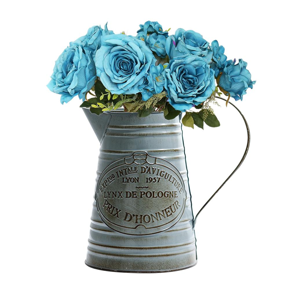 Maceta de jardín Retro de alta calidad, maceta de lata para flores, maceta de flores secas para jardinería, maceta de flores suculentas