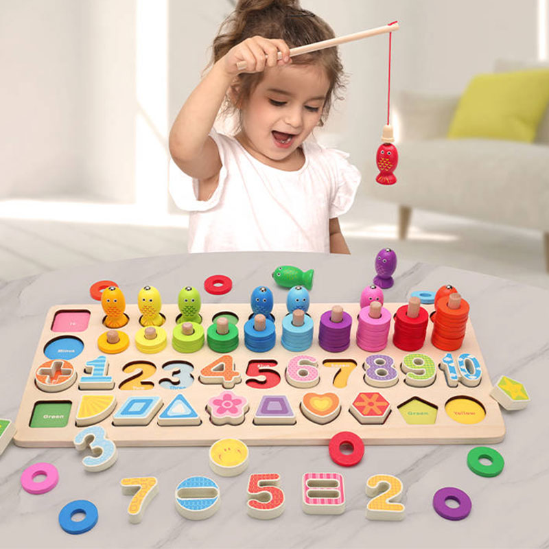 Math Toys Wooden Montessori Learning Baby Educational Toys For Children Wood Preschool Toys For Children Educational Montessori new wooden baby toys montessori wood fractional frame learning educational preschool training baby gifts