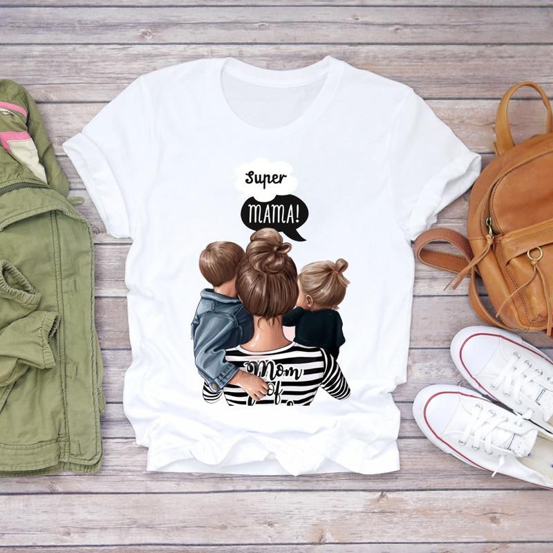 Women 2020 Cartoon Super Mom Life Momlife Striped Mother Lady T-shirts Top T Shirt Ladies Womens Graphic Female Tee T-Shirt