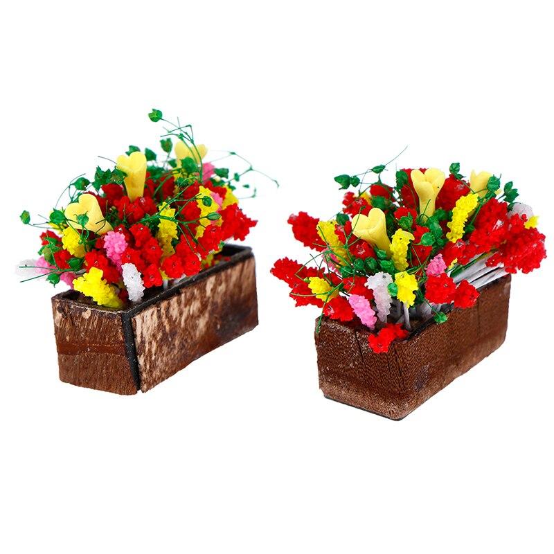 1/12 dollhouse miniatura planta flor multicolorido com pote de madeira jardim acessório