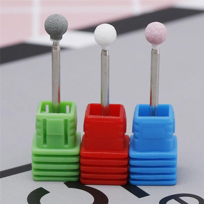 3 couleurs perceuse à ongles électrique meulage pierre ronde bavure cuticule propre moulin Bits électrique manucure lime à ongles perceuse outils dart des ongles