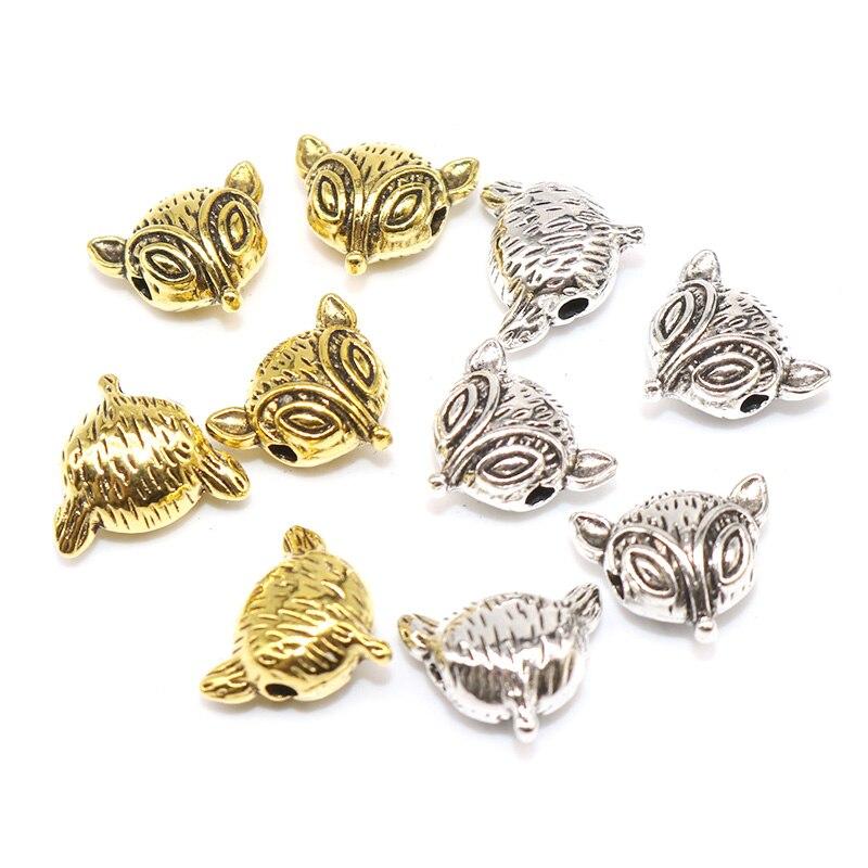 10/20 pcs/lot gros métal tibétain argent plaqué perles renard entretoises perles Vintage alliage perles à la main