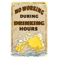 retro tin signs no working during drinking hours vintage metal sign for indoor outdoor cafes hotels family farmhouses garden