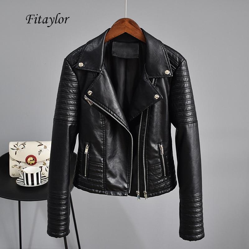 Fitaylor-جاكيت منفوخ من الجلد الصناعي للنساء ، بأكمام طويلة ، أسود ، بانك ، قصير ، برشام ، لباس خارجي