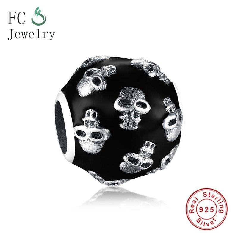 Ajuste original pandora encantos pulseira 925 prata esterlina crânio preto rosto contas para diy fazendo mulheres berloque atacado