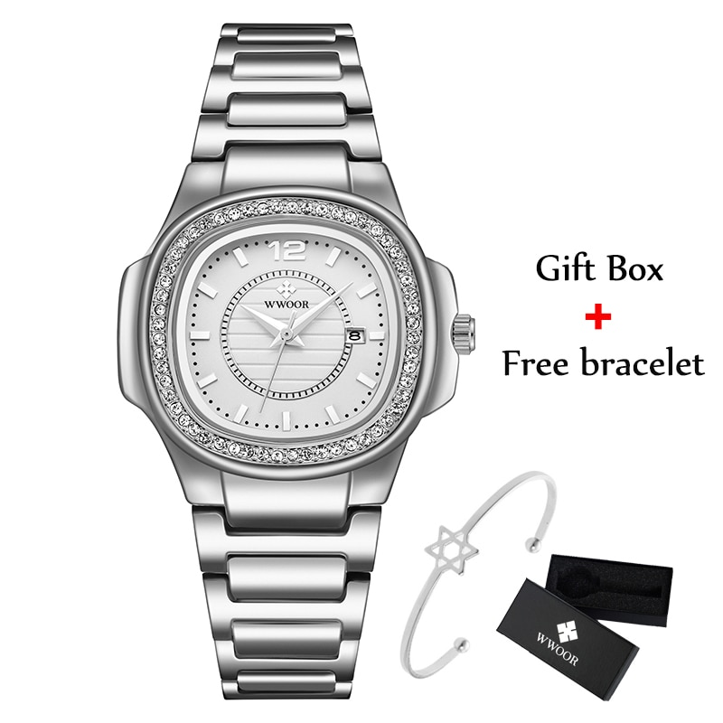 WWOOR Silver Watches For Women Quartz Dress Watch Brand Luxury Crystal Elegant Ladies Wrist Watch Female Clock Relogio Feminino enlarge