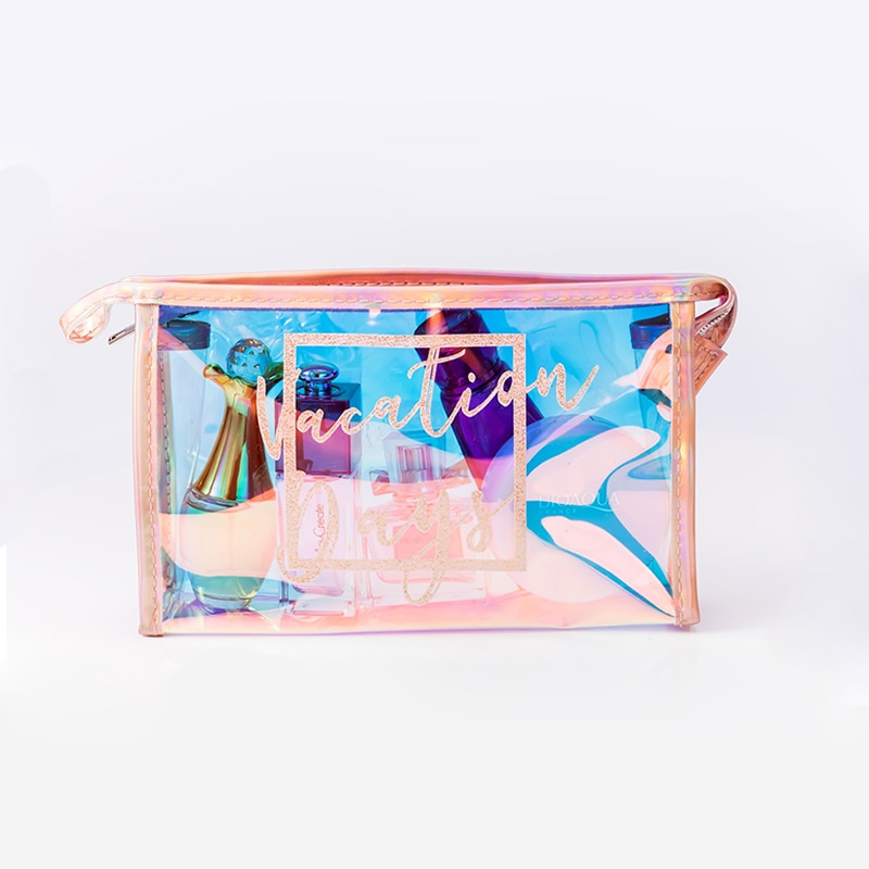 Women Holographic PVC Cosmetic Bag  Fashion Travel Necessaries Organizer Zipper laser Makeup Case Pouch Toiletry Kit