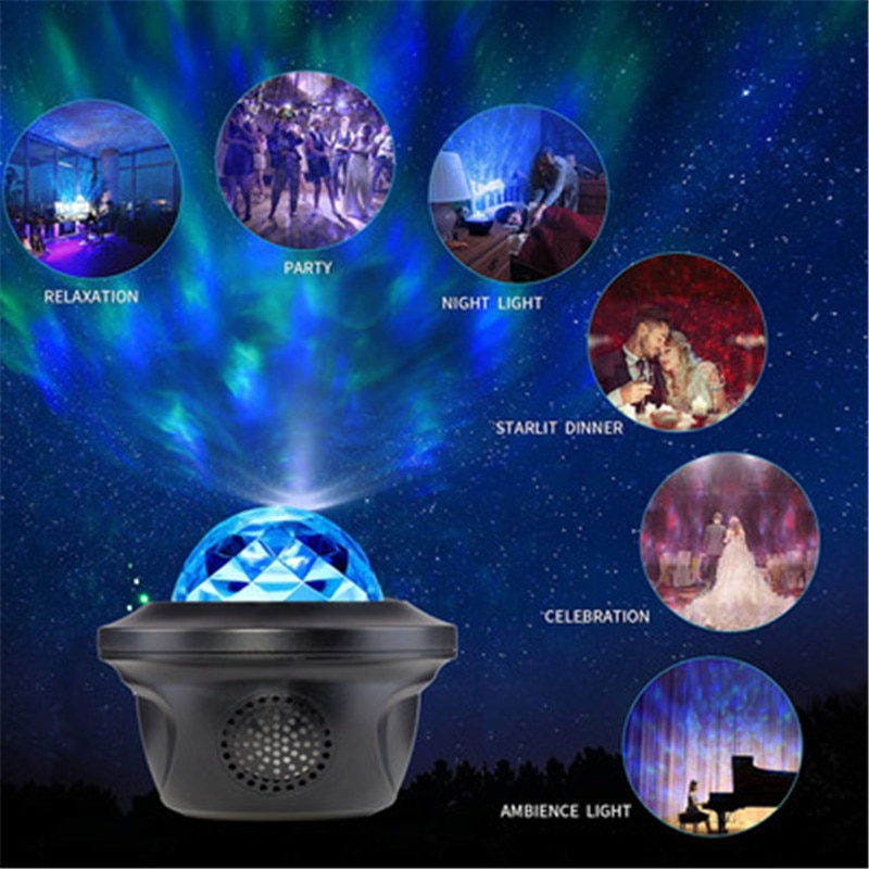 Mini Colorful Starry Sky Children Night Light Music USB LED Projector Lamp Bluetooth Galaxy Projector Lamp Interior Decoration