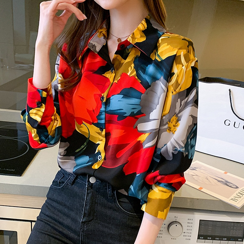 2021 Spring And Summer New Holiday Style Color Womens Retro Chiffon Shirt Long Sleeve Fashion Girls Clothes