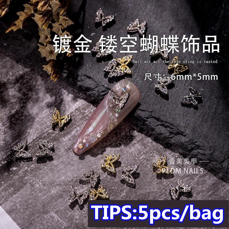 5pcs Nail Art Decoration Golden Metal Zircon Butterfly Decoration  Nail Charms Luxury  Nail Glitter