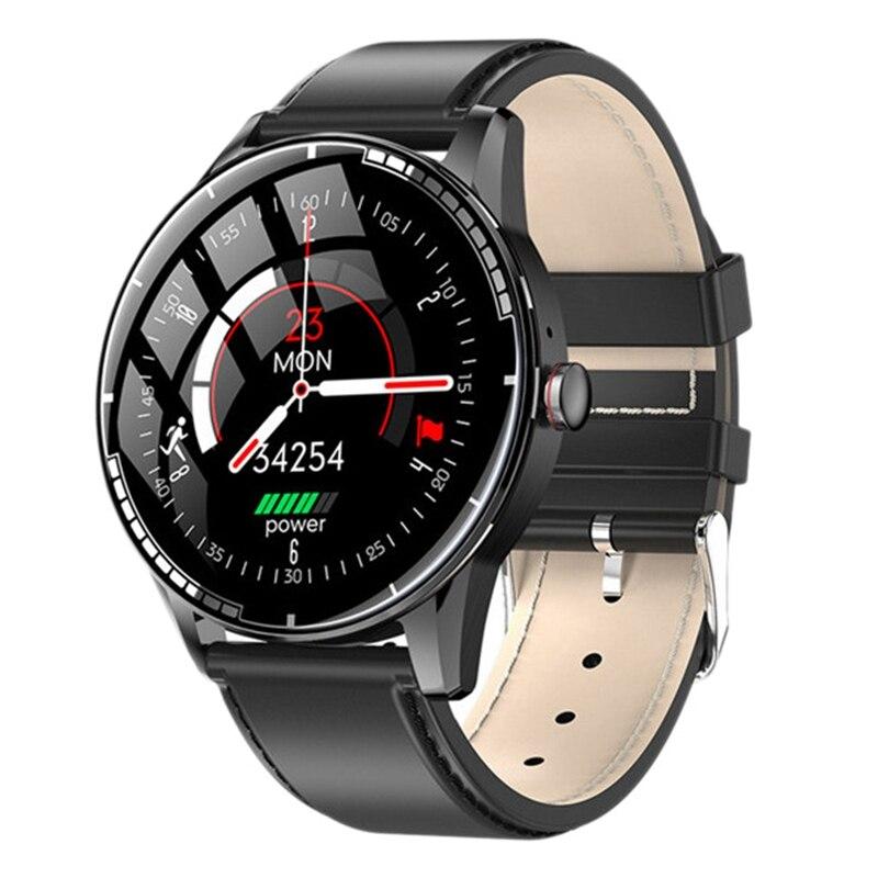E6 Smart Watch, 2.5D Toughened Glass Sports Bluetooth Ekg Watch, Blood Oxygen Test, For Men / Women, Black Belt