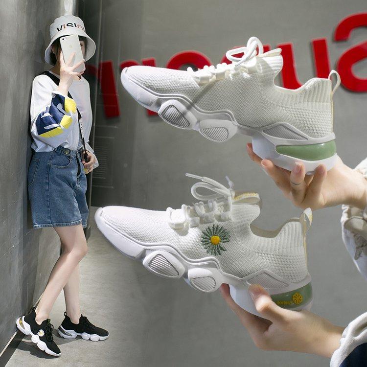 أحذية نسائية شبكية برباط علوي ، أحذية رياضية غير رسمية متناسقة مع كل شيء ، مجموعة ربيع جديدة
