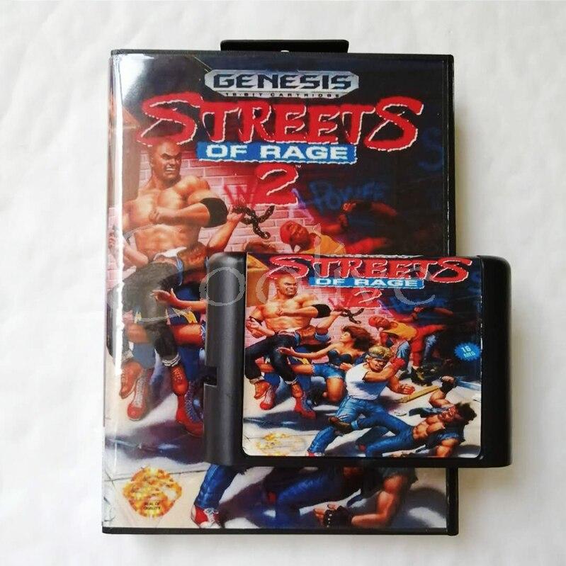 Streets Of Rage 2 para 16 bits da Sega Genesis/Cartucho de Megadrive Video Game Console com Caixa de Varejo