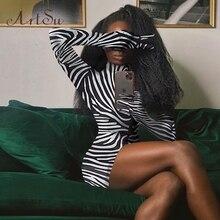 SEASONS Zebraพิมพ์ผู้หญิงมินิเดรสแขนยาวถุงมือคอเต่าเซ็กซี่ชุดBodyconฤดูใบไม้ร่วงฤดูหนาวSlim Club ASDR82016