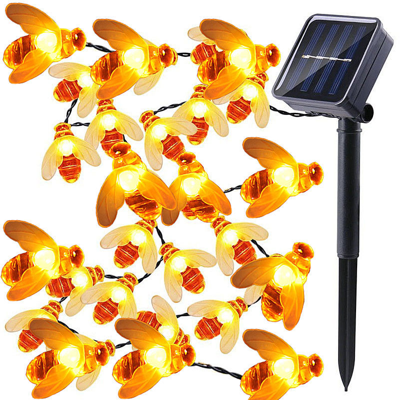 Solar Panle Powered Cute Honey Bee Led String Fairy Light10M 50leds Bee Outdoor Garden Fence Patio Christmas Garland Lights