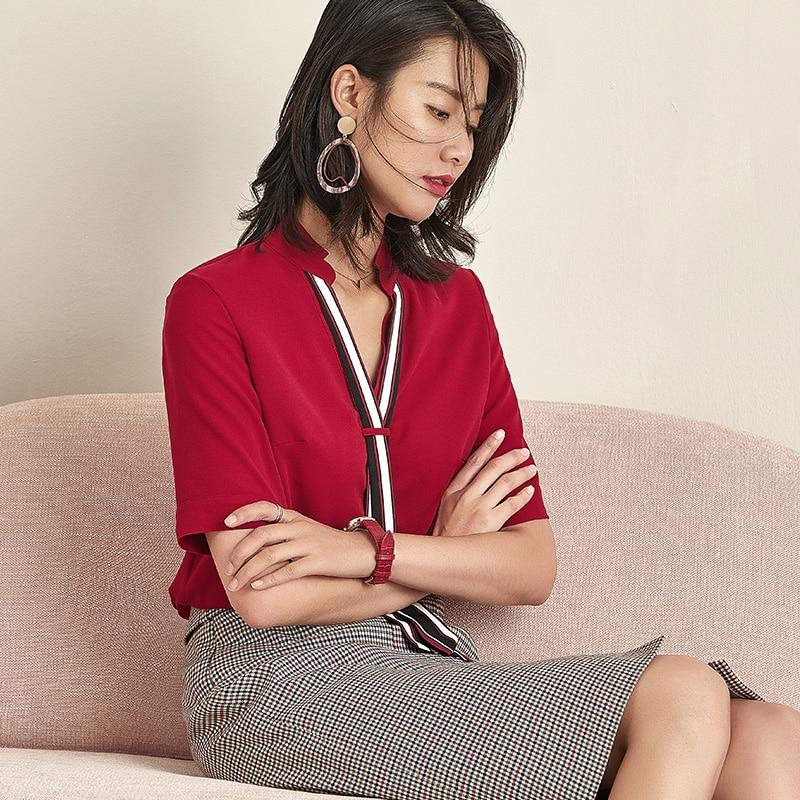 Women's Shirt Korean Style 2021 New Trendy Sense of Design Red Chiffon Top Pullover plus Size Loose