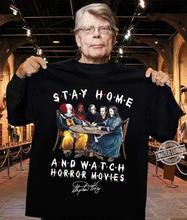 Restez à la maison et regardez des films dhorreur Stephen King signé cadeau ventilateur chemise S 5Xl