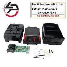 Для Милуоки 18V M18 литий Батарея Пластик чехол Крышка PCB зарядки 3Ah 4Ah 5Ah 6Ah 9Ah печатной платы в виде ракушки