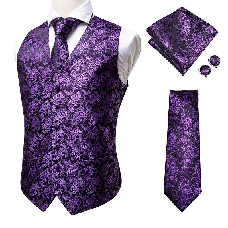 Hi-Tie Top Quality 100% Silk Mens Vest and Tie Set 2020 Luxury Designer Purple Floral mens dress vest chalecos para hombre