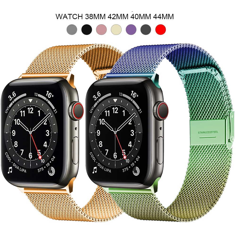Band For Apple Watch Series 1 2 3 42mm 38mm Strap for iwatch 4 5 6 Se  Watch Band 40mm 44mm Milanese Stainless Steel Bracelet woman strap for apple watch band 40mm 44mm link bracelet iwatch band 38mm 42mm stainless steel for apple watch series 6 5 4 3 2