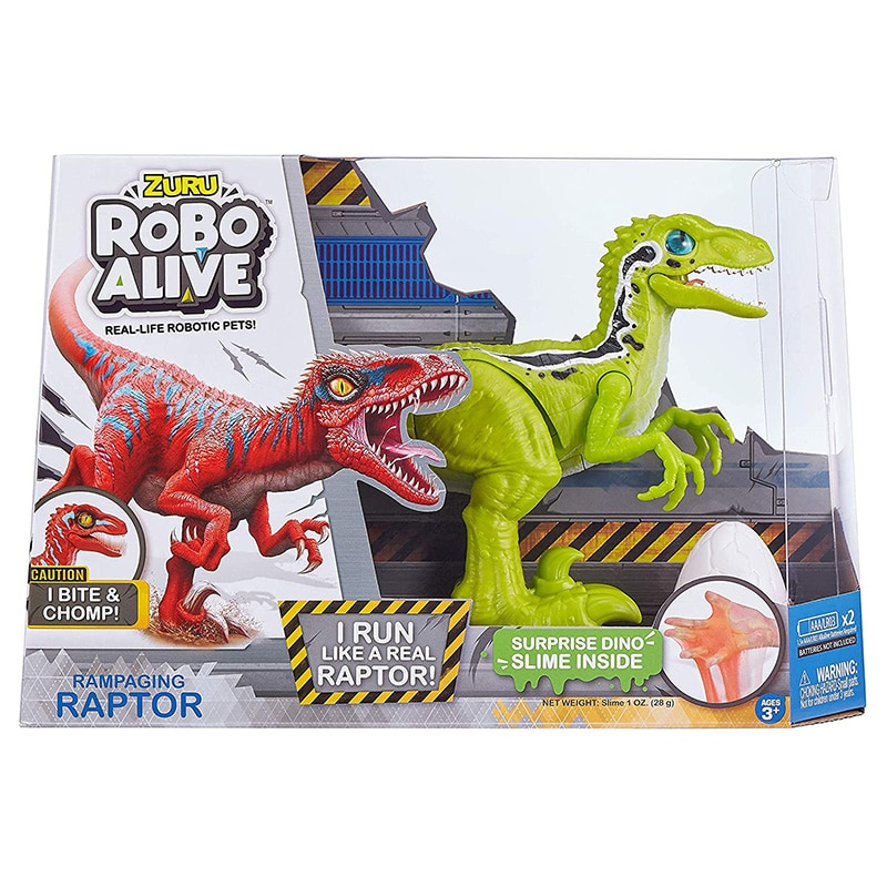 ZURU Robo Alive 25289A Rampaging Raptor Dinosaur Toy Boys Electronic Gifts Toy Surprise Dino Slime Inside Robotic Pets Games enlarge