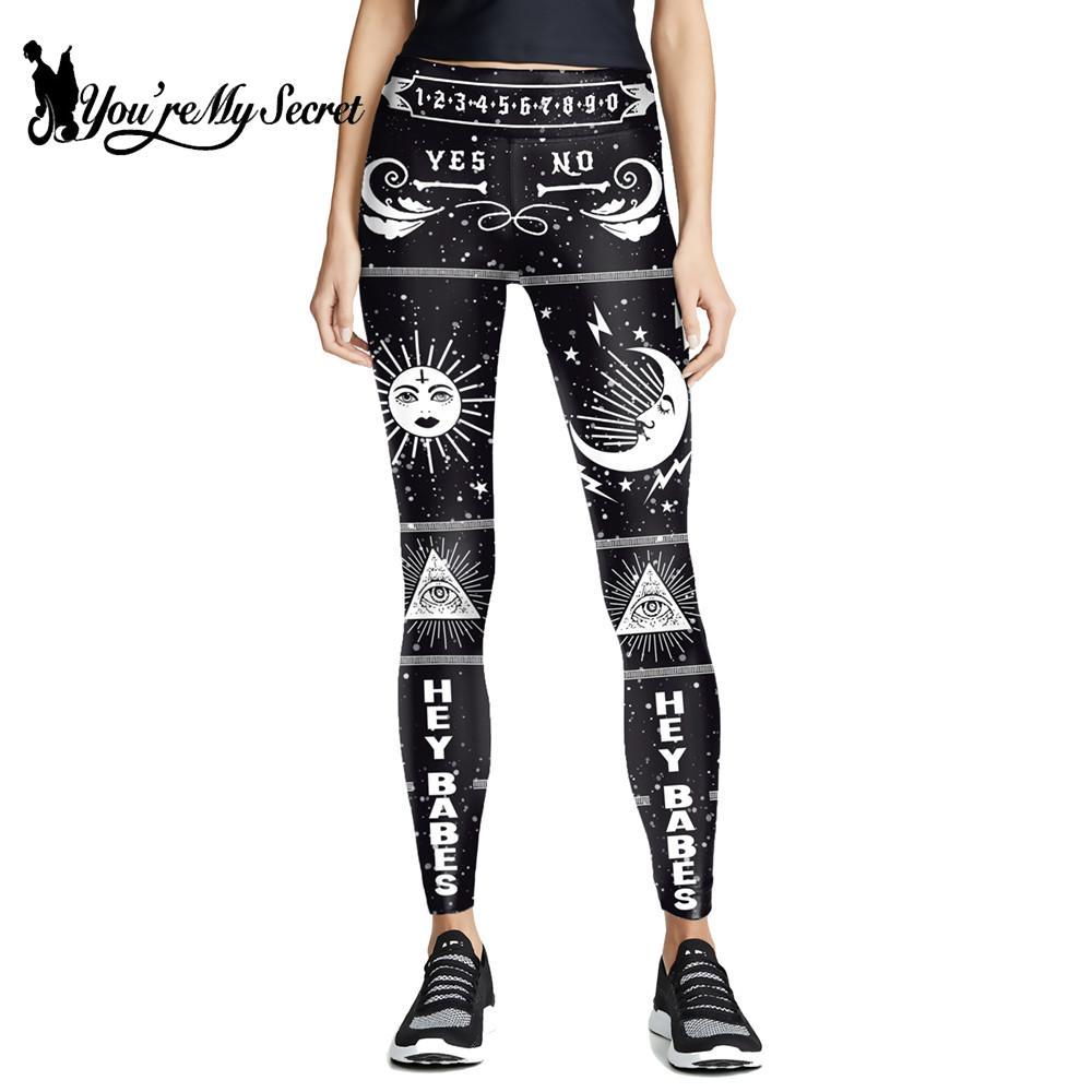 [You Are My Secret] mallas de mujer gótica Ouija, pantalones ajustados con ojos que todo lo ve, pantalones góticos negros femeninos, mallas elásticas