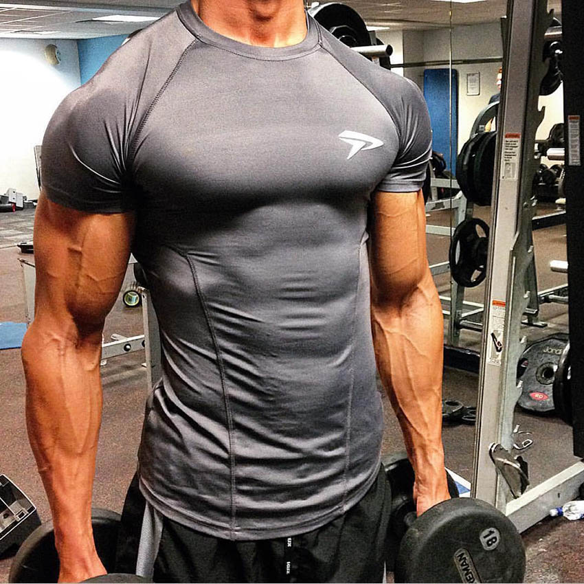 Fitness Sport T Shirt Men Quick Dry Fit Gym Shirt Men Short Sleeve Running Tshirt Elastic Sportswear Top Sports Gym TShirt недорого