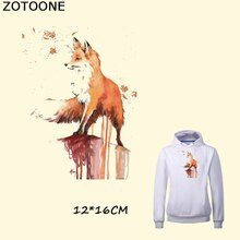 ZOTOONE Pyrography 18*17 Cm Warm Cartoon Fox Thermal Transfer Ironing Stickers Iron on Patches for Clothes Washable Appliques E